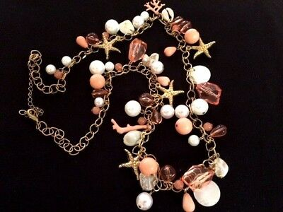 Beautiful Faux Pearls, Starfish And Shells Gold Tone Necklace  - 8295