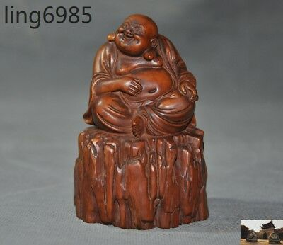 Old China Buddhism Boxwood wood Hand-carved Happy laugh Maitreya Buddha statue