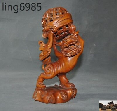 rare old China fengshui Boxwood wood Hand-carved Hydrangea lion animal statue