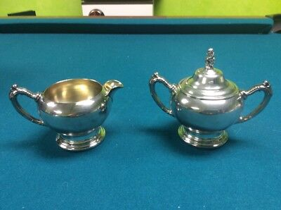 Oneida Silversmiths Silver Plated Sugar And Creamer Set With Lid Holloware