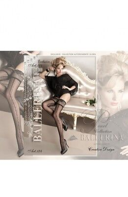 BALLERINA 124 Black Patterned Luxury Fine Sheer Lace Top Hold Ups S M L XL