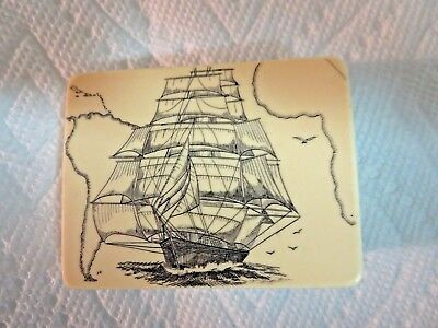 Vintage ARTEK POOL Lightening SCRIMSHAW Beltbuckle Ship