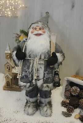 Extra Large Free Standing Santa Claus Father Christmas Decoration Grey & White