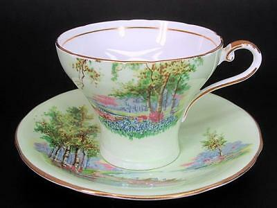 Aynsley Tea Teacup Cup & Saucer c1930's Bluebell Time Landscape Minty Green