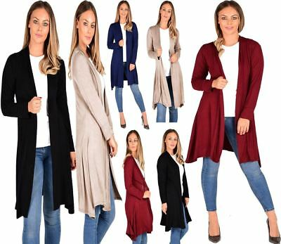 New Womens Open Front Knee Length Plain Cardigan Long Sleeve Party Casual Top