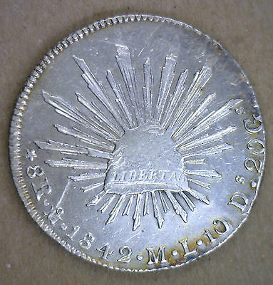 1842 Mexico Silver 8 Reales Coin featuring Cap Rays Eagle Snake YG