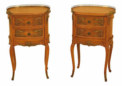 F43030EC: Pair French Louis XV Style Satinwood Nightstands