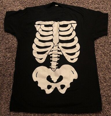 Vintage Black Screen Stars T-Shirt 80s Retro Skeleton Bones Ribs Costume