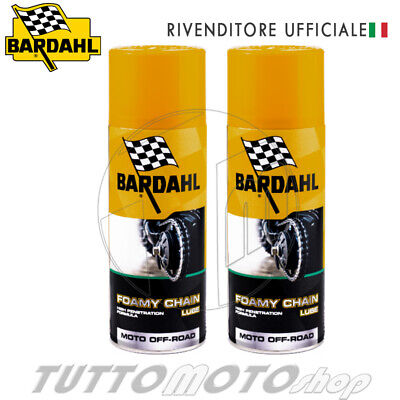 2x BARDAHL FOAMY CHAIN LUBE GRASSO LUBRIFICANTE CATENA SPRAY MOTO CROSS ENDURO