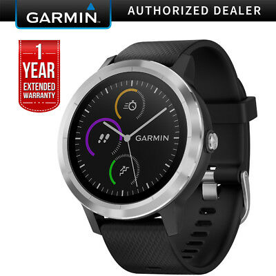 Garmin Vivoactive 3 GPS Smartwatch (Black & Stainless)+ 1 Year Extended Warranty