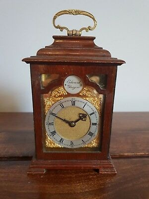 Antique Edward Glasgow Oak Cased Carriage Clock with Brass Face and Handle