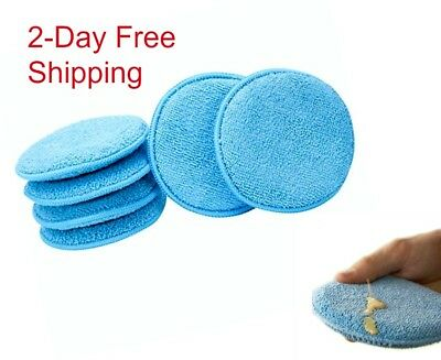 Soft Microfiber Applicator Pads Auto Detailing Wax Shining Buffers Reusable 6 ct