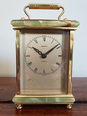 Vintage Dominion Brass and Green Marble Carriage Clock (Quartz Battery Movement)