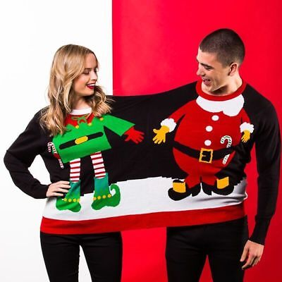 Unisex Adults Double Santa/Elf Christmas Jumper CJ005 one size
