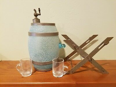Vintage Blue Glass Whiskey Barrel Decanter With 2 Glasses