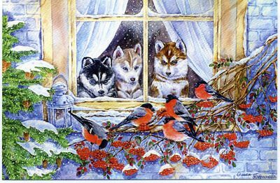 Dogs and Bullfinches Winter Christmas  Modern Russian postcard 0599