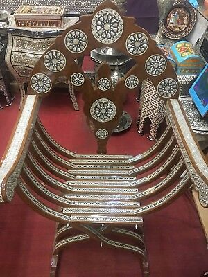 Egyptian Big Carved  Beech Wood Chair Mother of Pearl Inlay