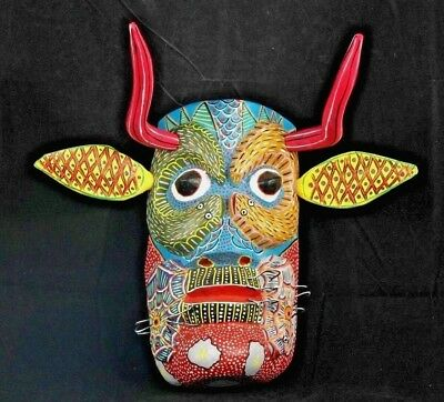Mexican Wood Hanging Mask Folk Art Hand Made/Painted Collectible Removable Parts