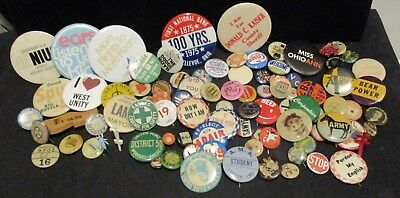 (Over 90) Assorted Pins, Humorous, Political, Advertising & Many More!