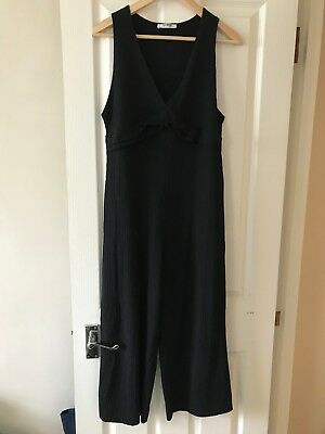 9691083397d ZARA BLACK JERSEY Jumpsuit with frill M - EUR 16
