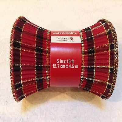 CELEBRATE IT SPIRAL Ribbon 5 Inches 15 Feet Red Plaid Decor Gift Wrap  Presents