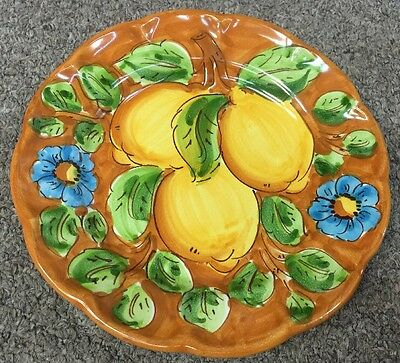 Vietri Pottery-8 Inch Plate With Lemon.Made/painted by hand in Italy