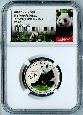 2018 Canada Ngc First Releases Sp70 Silver The Peaceful Panda-Friendship S$8!