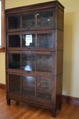 Macy Mission Oak Lawyer / Barrister 4 stack Bookcase 34 by 61 inches Pickup only