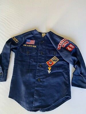 Vintage Boy Scouts of America Cub Scout Shirt & kerchief 1970's Boys Small