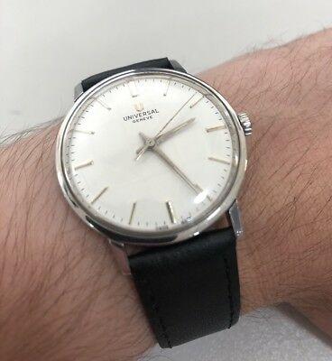 Vintage Men's 1960s UNIVERSAL GENEVE Steel Mechanical Manual Watch 36mm