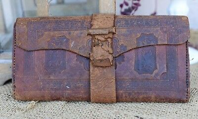 Antique Early To Mid 19th Century Tooled Leather Wallet W/ Name Stitched In Old