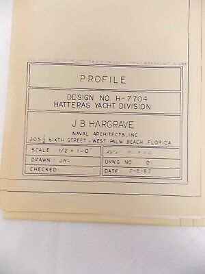 Vintage Blueprint Hatteras Yacht Boat Naval Nautical 09-13-1982 54X30 #M519