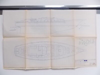 Vintage Blueprint Hatteras Yacht Boat Naval Nautical 34X22 #M520