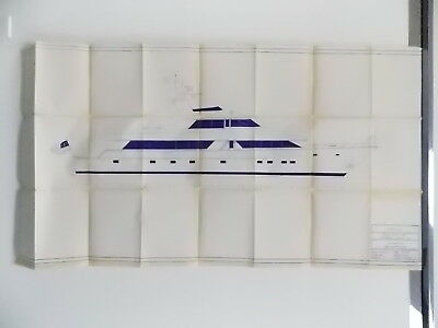 Vintage Blueprint Hatteras Yacht Boat Naval Nautical 06-29-1988 58X30 #M508