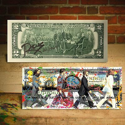 THE BEATLES Abbey Road 1st Man on Moon $2 US Bill - Signed by RENCY Ltd. of 1969