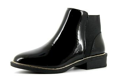 NEXT Younger Girls UK 12 EU 30.5 Black Patent Faux Leather Zip Up Ankle Boots