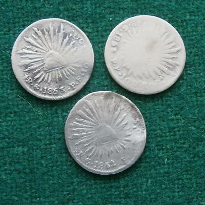 Mexico 1/2 Real Silver Lot of 3 coins Caps & rays 1852 & 1853 Go