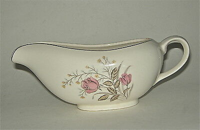 "SPRING GARDEN JAPAN Rose Pattern Gravy Boat, Fine China, Gold trim. 8"" long."