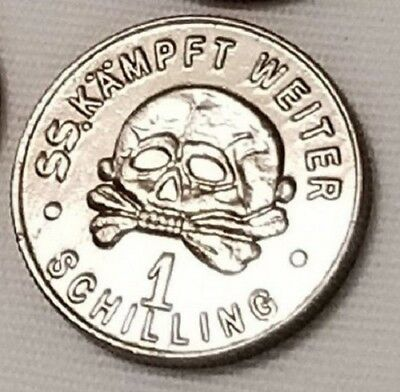WW2 WWII German coin SS Elite Kampft Weiter 1 Schilling Kantine bar money silver