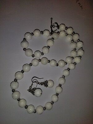 20 Inch Carved White Coral Necklace And Earrings