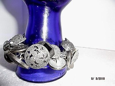 "Antique Hand Made Buttons Bracelet Vintage Metal Buttons  9 "" NEW"