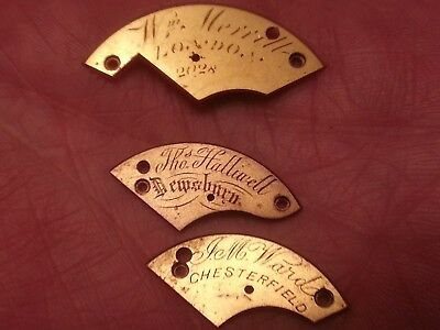 3 Original Verge/english Lever Fusee Main Spring Barrel Named Cover Plates.