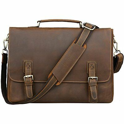 Jack Chris Men s Genuine Leather Briefcase Messenger Bag 15.6