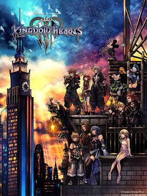 "Kingdom Hearts III Poster 40x30"" 32x24"" 24x18"" Video Game 2019 KH3 Silk"