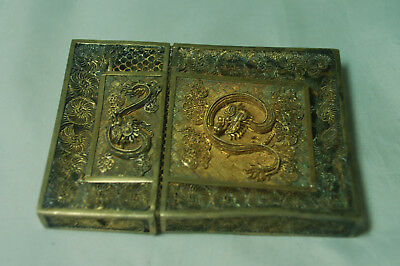 Antique Chinese Silver Gilt Filigree Card Case Dragons DAMAGED 51g A685017
