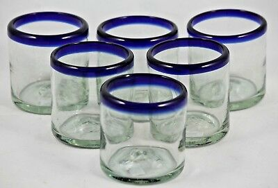 Mexican Juice Glasses Clear/Cobalt Blue Rim Hand Blown set of 6 Kitchen/Bar Ware