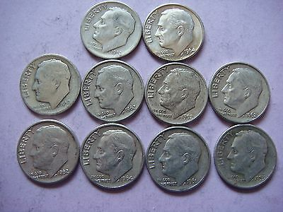 Lot of 10 Roosevelt  Dimes nice old coins 90% Silver   #9449
