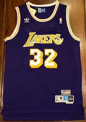 Magic Johnson  32 Los Angeles Lakers Hardwood Classics Throwback Away Jersey  NWT fe434797b