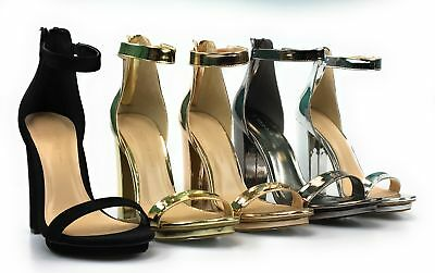 Womens Chunky High Heel Metallic Sandal Open Toe Single Band Ankle Strap Pace-02