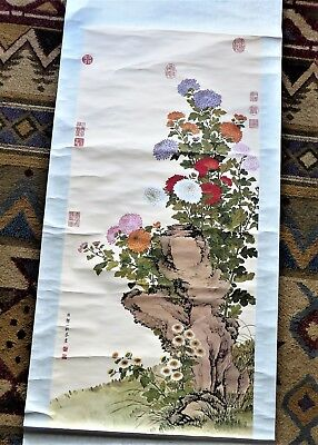 Antique Chinese Wall Hanging Scroll Floral Chrysanthemums 18th Century Ch'ing